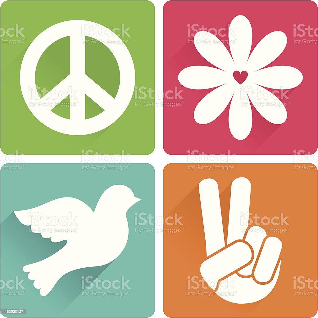 Set of 4 antiwar symbols in flat design vector art illustration