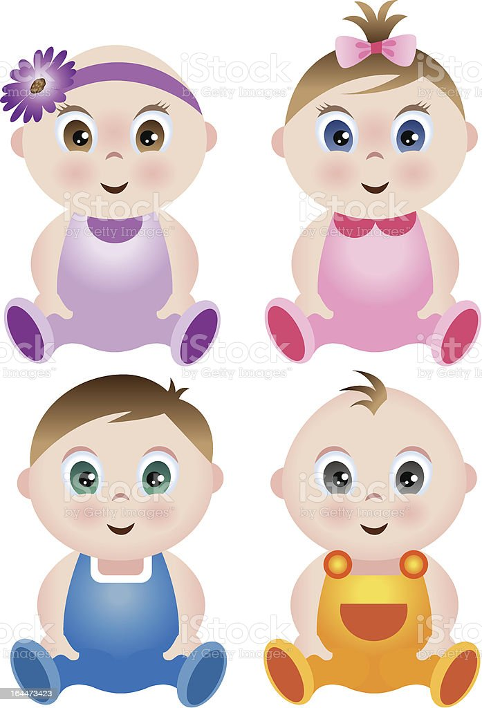 Set of 4 babies in colorful outfits vector art illustration