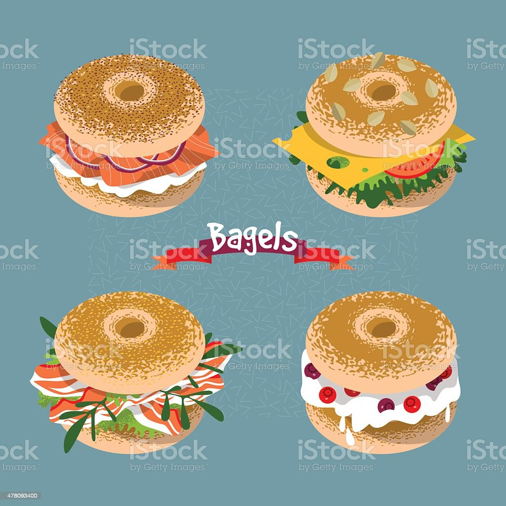 Set of 4 bagels with various toppings. vector art illustration