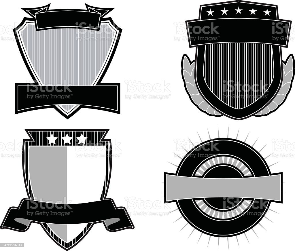 Set of 4 Black & White Emblems & Crests royalty-free stock vector art