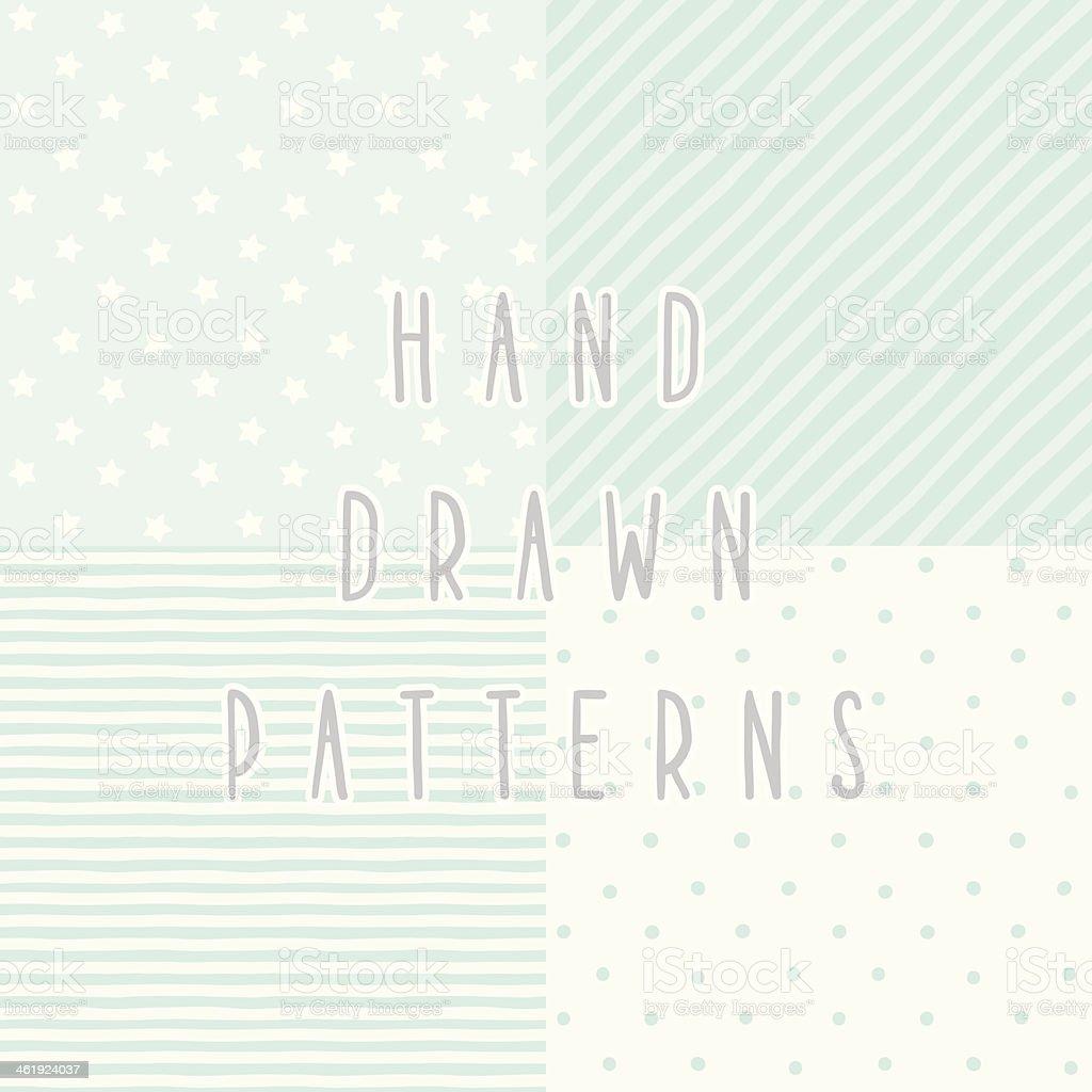 Set of 4 cute blue hand drawn patterns vector art illustration