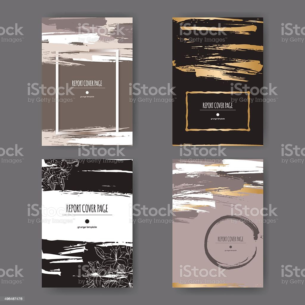 Set of 4 elegant grunge templates with paint brush strokes. vector art illustration