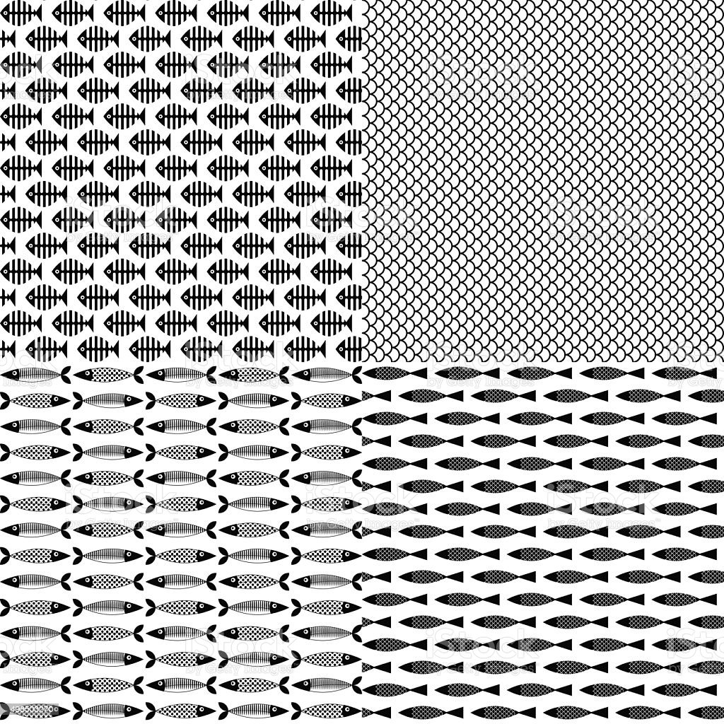 Set of 4 fish themed patterns. Black-and-white vector art illustration
