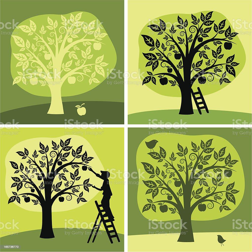 Set of 4 green & black illustration of an apple tree vector art illustration