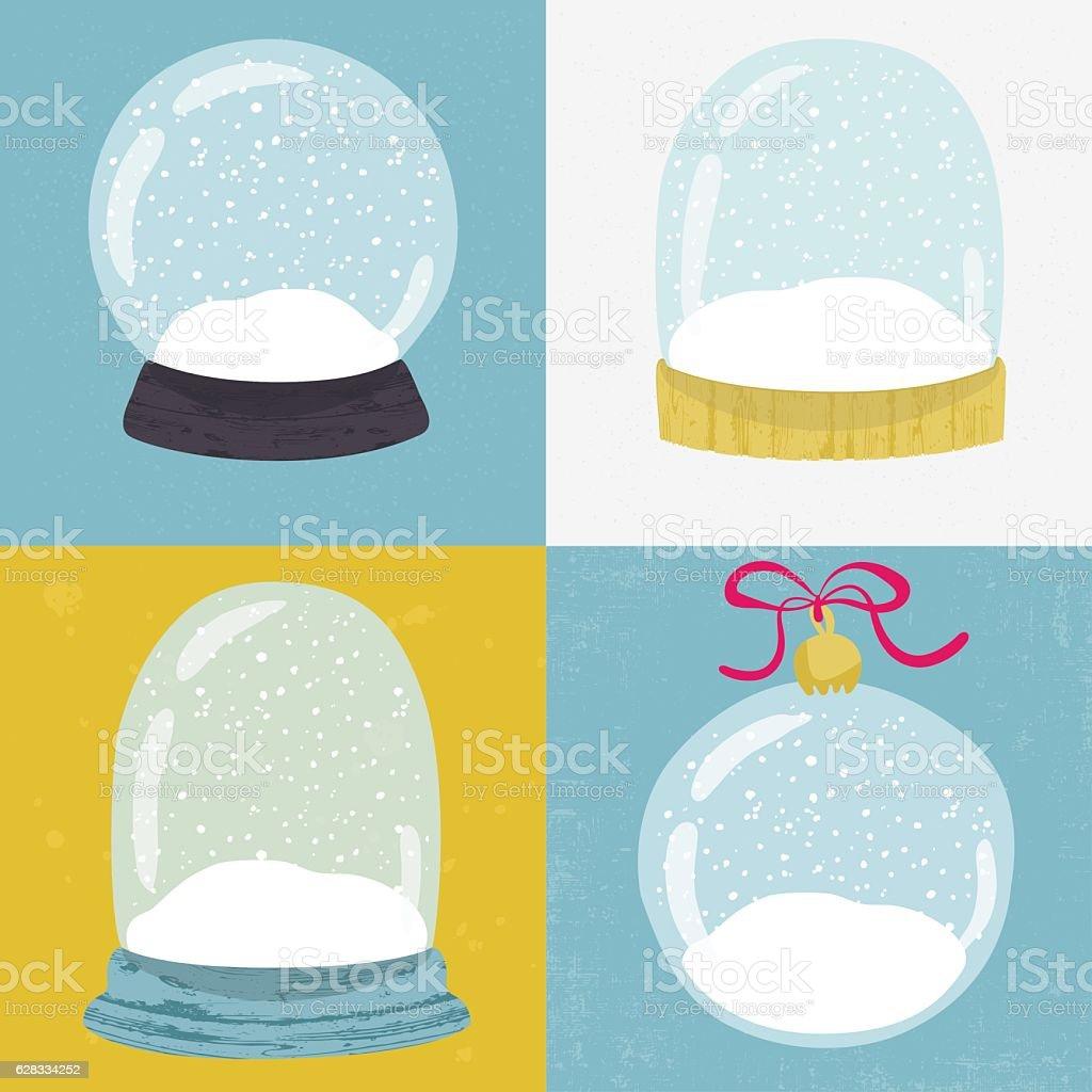 Set of 4 illustrations with hand drawn snow globe. vector art illustration