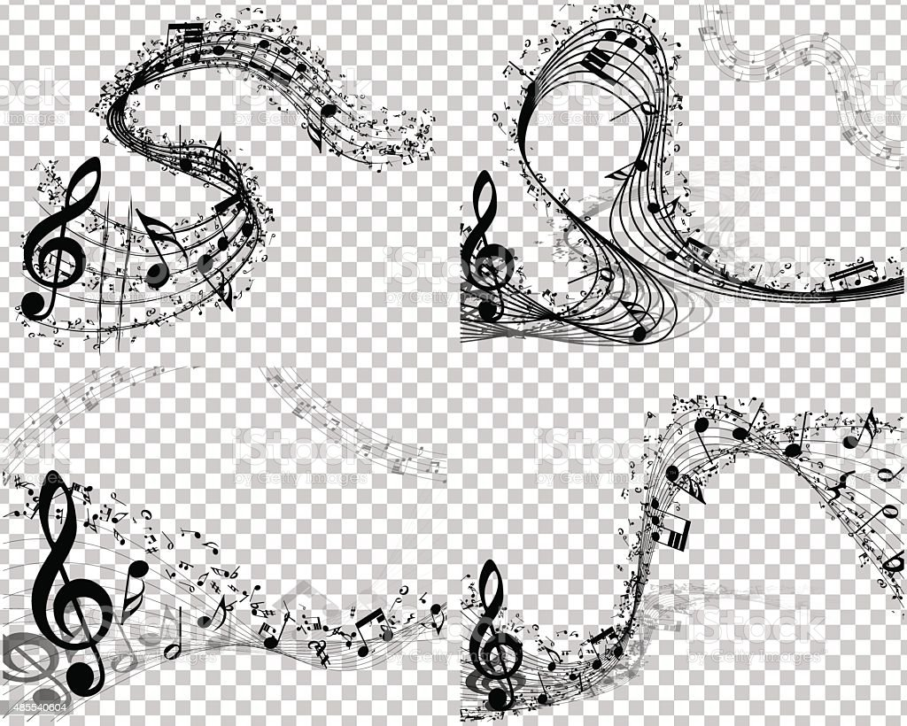 Set of 4 Musical Backgrounds vector art illustration