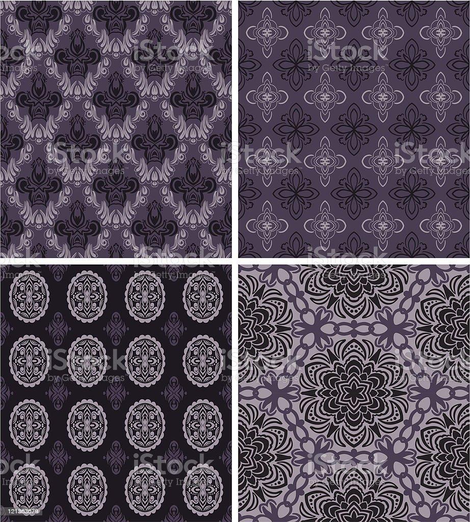 Set of 4 seamless patterns royalty-free stock vector art