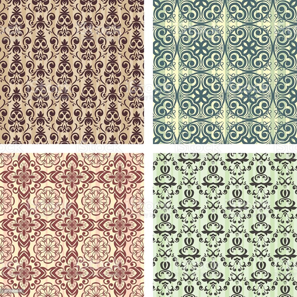 Set of 4 seamless patterns royalty-free stock vector art