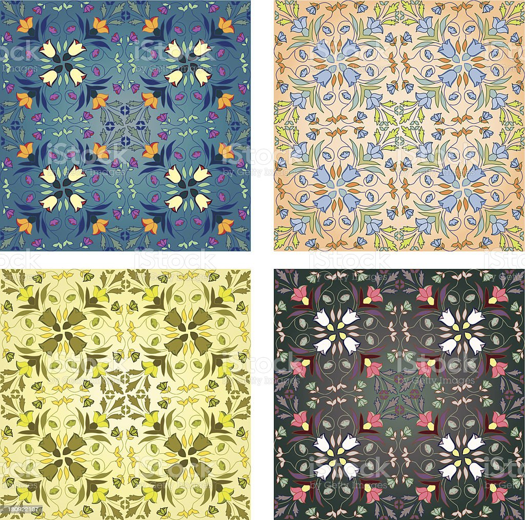 set of 4 seamless silk patterns royalty-free stock vector art