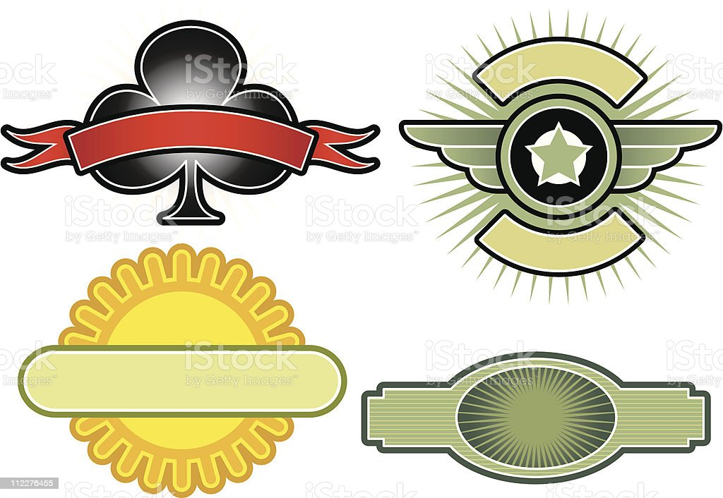Set of 4 Vector Emblems & Crests royalty-free stock vector art