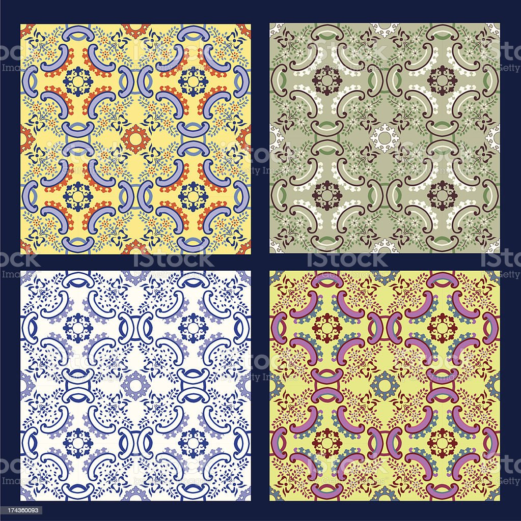 set of 4 vector seamless pattern vector art illustration