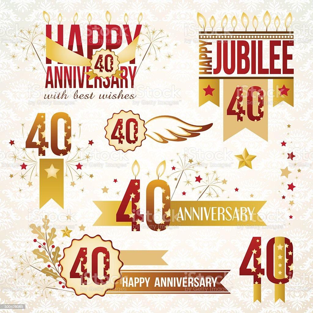Set of 40th anniversary emblems. royalty-free stock vector art