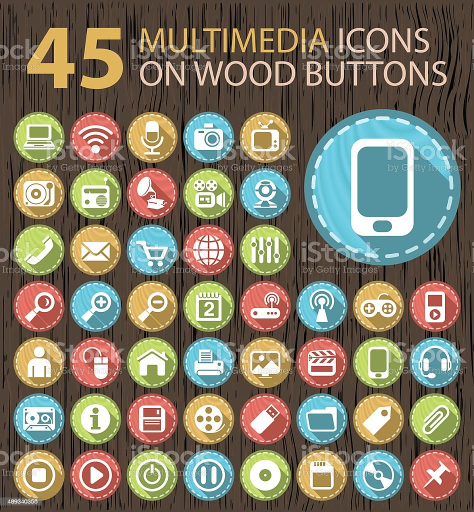 Set of 45 Flat Multimedia White Icons on Wood Buttons. vector art illustration