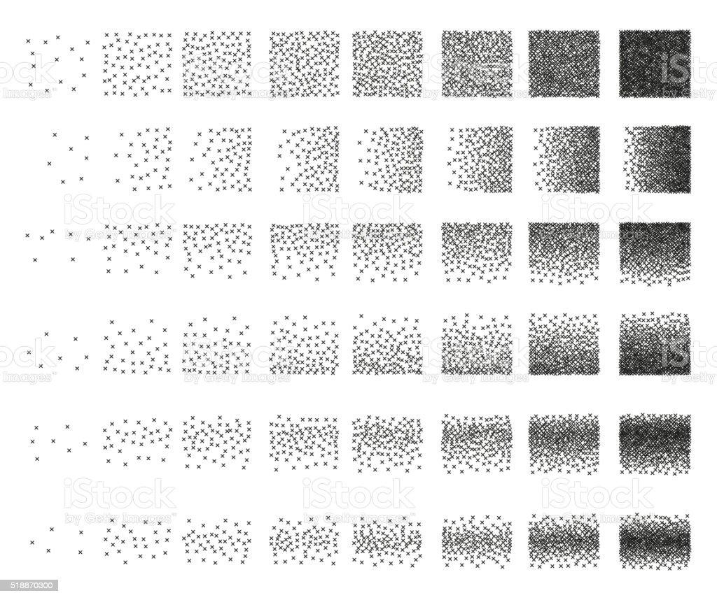 Set of 48 cross Stipple pattern for design. Tile spots vector art illustration