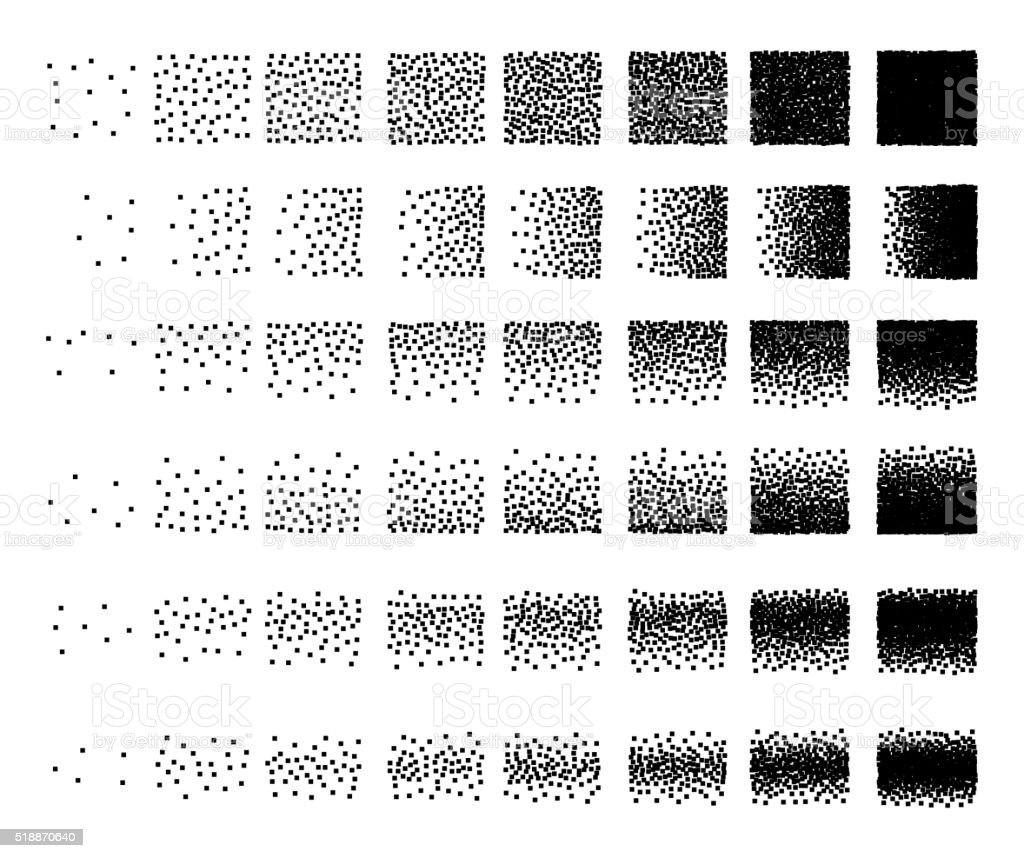 Set of 48 square Stipple pattern for design. Tile spots vector art illustration
