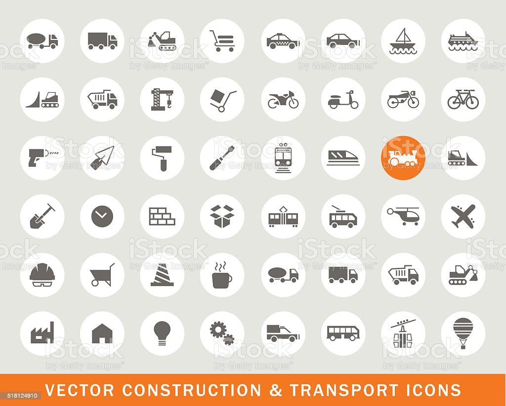 Set of 48 Universal Construction and Transport Icons. vector art illustration