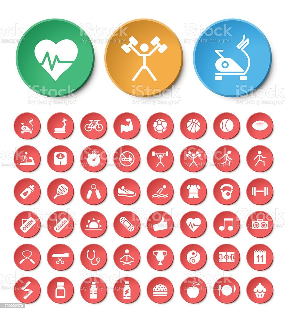 Set of 48 Universal Fitness Icons on Circular Buttons. vector art illustration