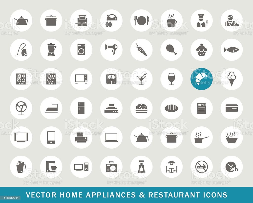 Set of 48 Universal Restaurant and Home Appliances Icons. vector art illustration