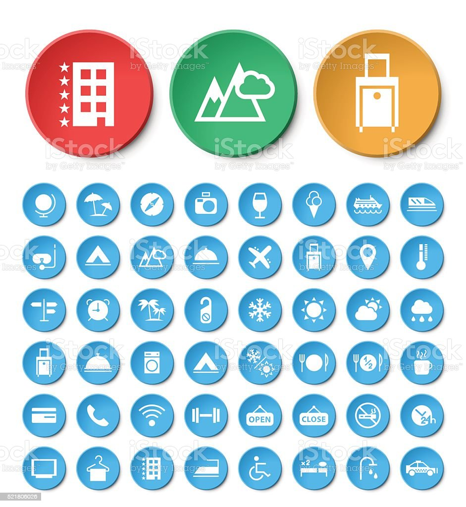 Set of 48 Universal Travel and Hotel Icons. vector art illustration