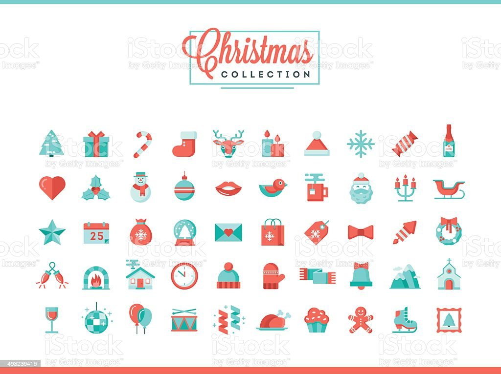 Set of 50 beautiful Christmas icons, flat design style vector art illustration