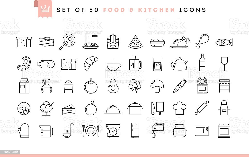 Set of 50 food and kitchen icons, thin line style vector art illustration