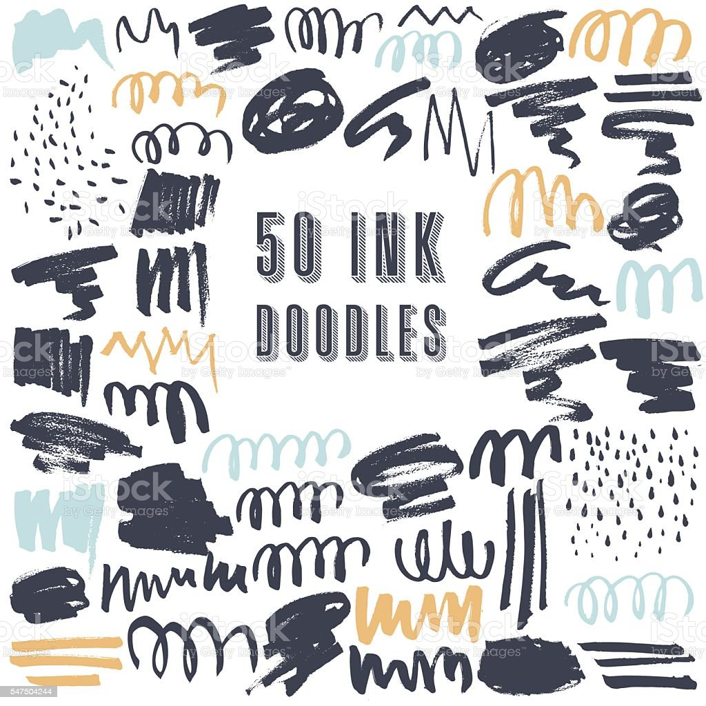 Set of 50 grungy artistic doodles. vector art illustration