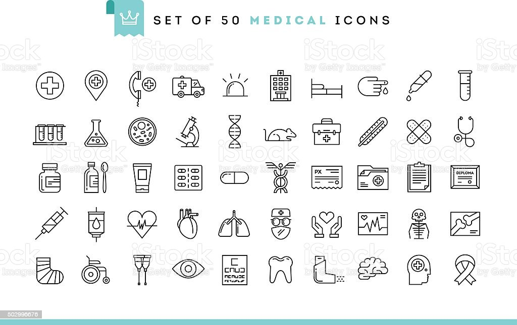 Set of 50 medical icons, thin line style royalty-free stock vector art