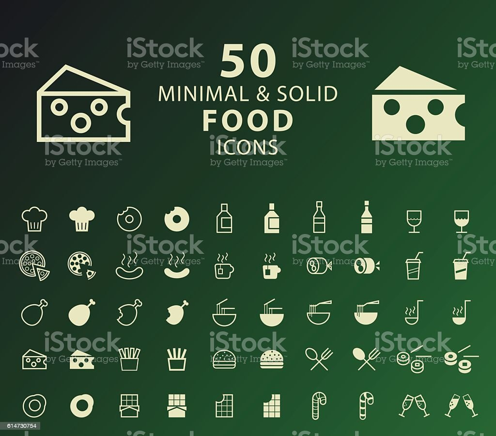 Set of 50 Minimal and Solid Food Icons. vector art illustration