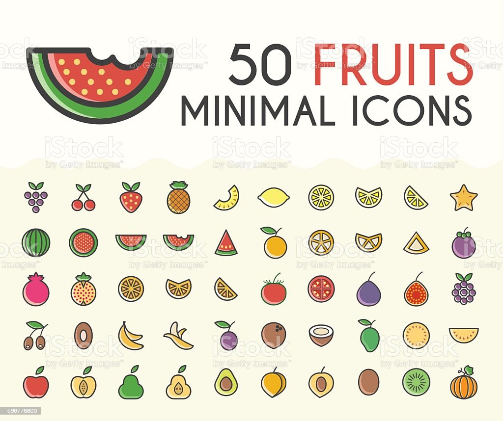 Set of 50 Minimalistic Solid Line Coloured Fruits Icons. vector art illustration