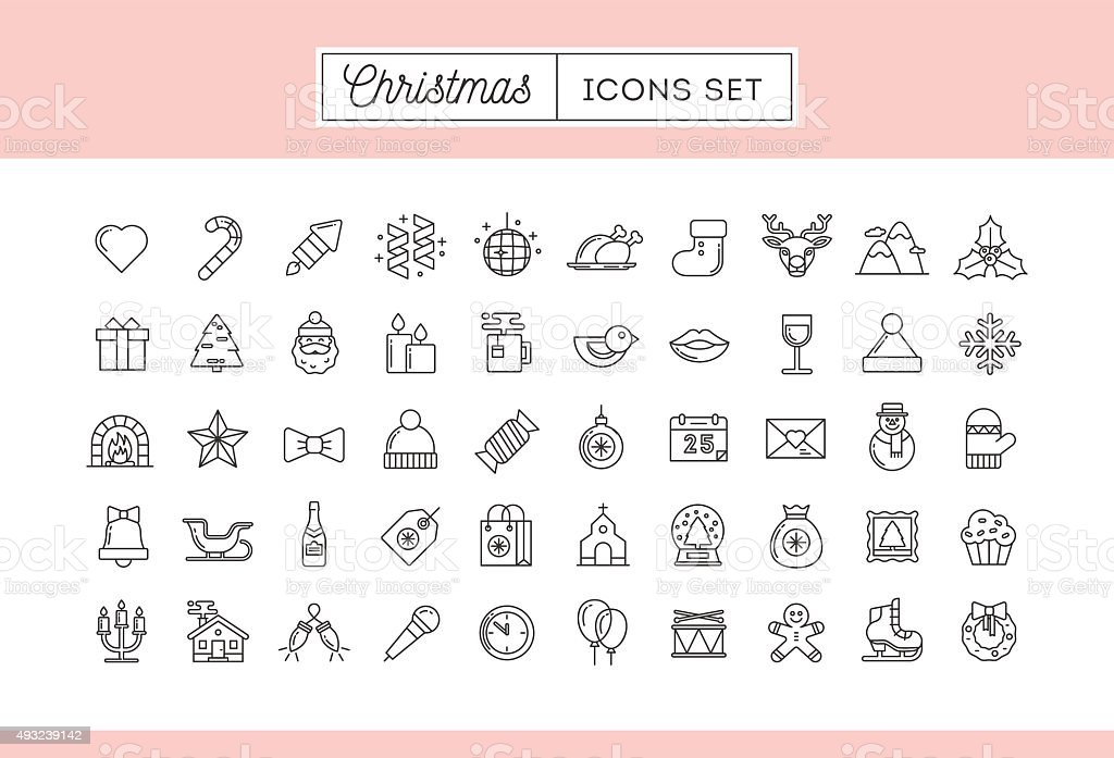 Set of 50 thin line Christmas icons vector art illustration