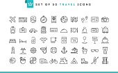 Set of 50 travel icons, thin line style