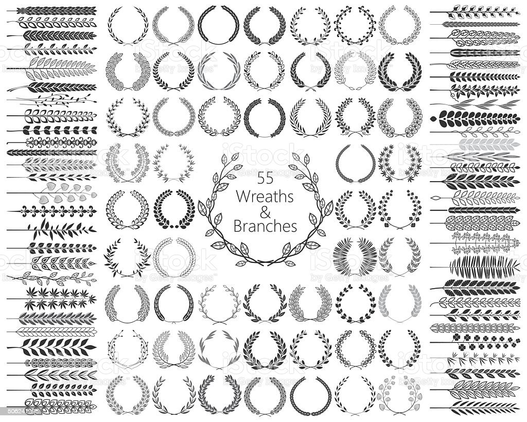 Set of 55 Wreaths and branches. Vector illustration. vector art illustration