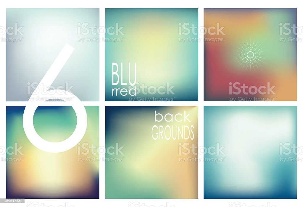 Set of 6 different blurred backgrounds. Set No. 5. vector art illustration