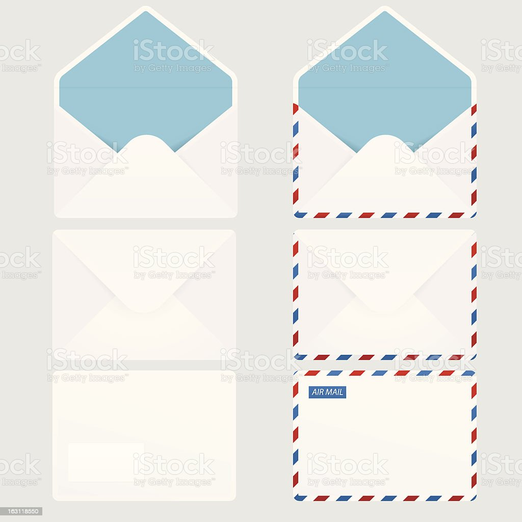 Set of 6 envelope icons vector art illustration