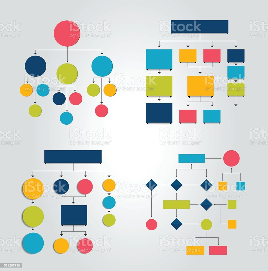 Set of 6 flow charts schemes, diagrams. Simply color editable. vector art illustration