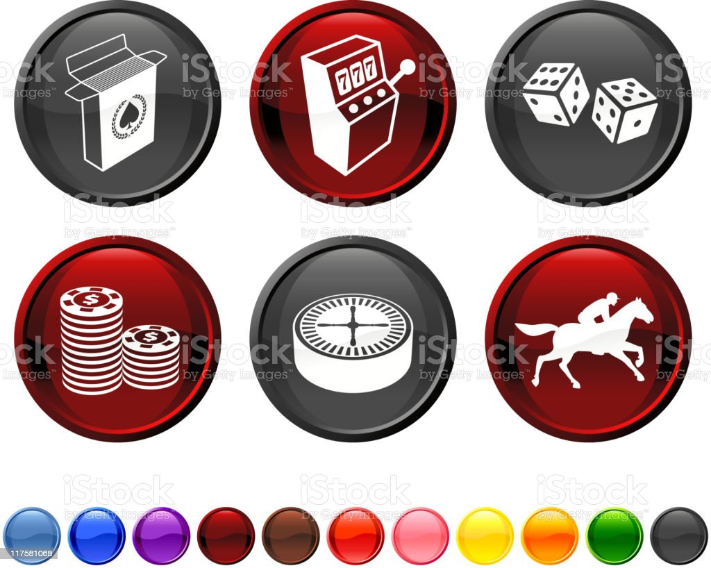 Set of 6 gambling related round icons with 11 example colors vector art illustration