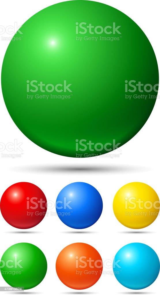 A set of 6 small balls & 1 large ball, in multiple colors vector art illustration