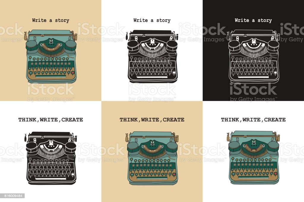 Set of 6 vintage cards with typewriters. vector art illustration