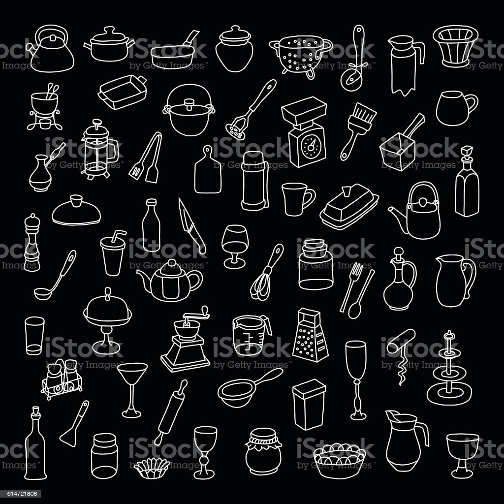 Set of 60 icons of different types of cookware. vector art illustration