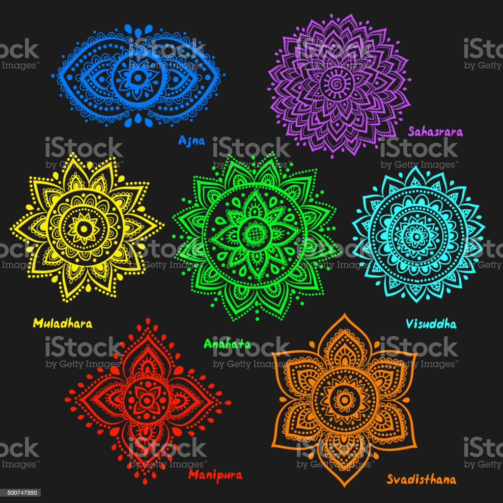 Set of 7 chakras vector art illustration