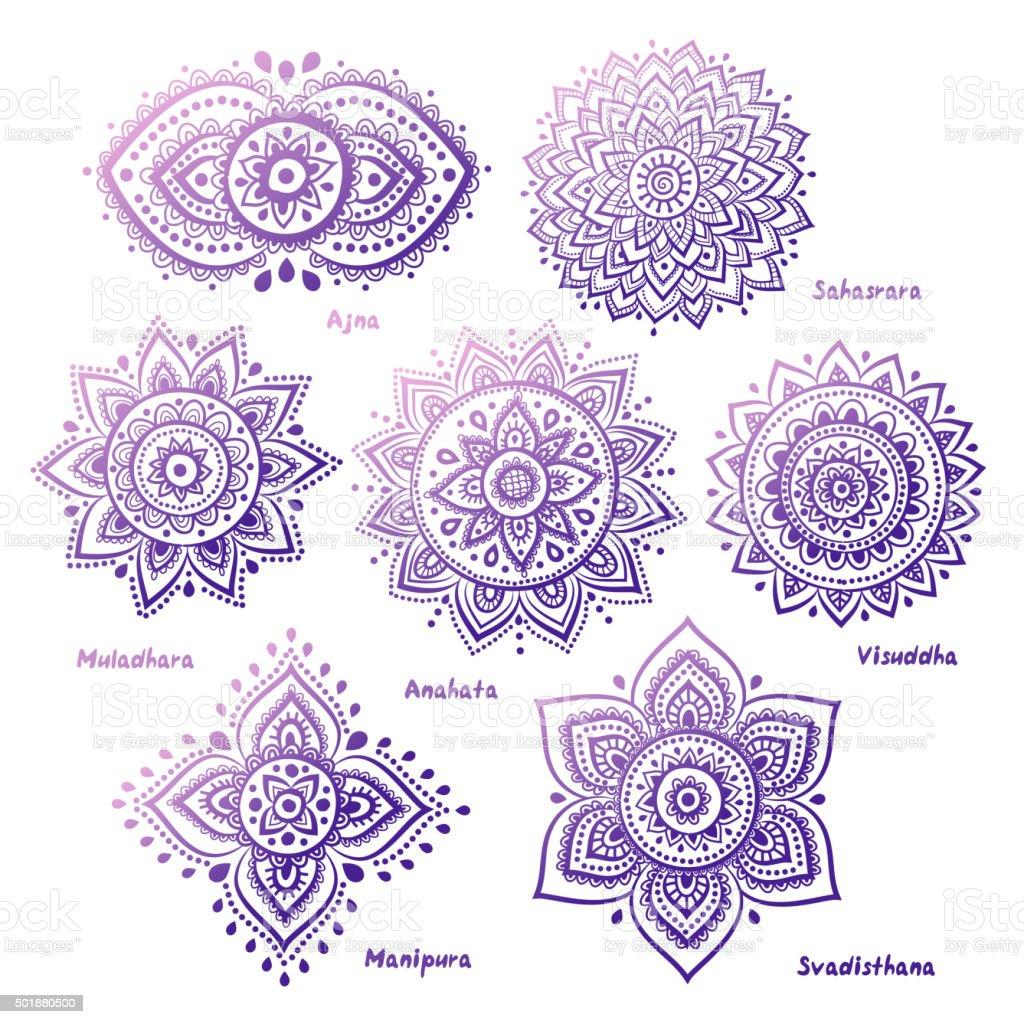Set of 7 chakras vector art illustration