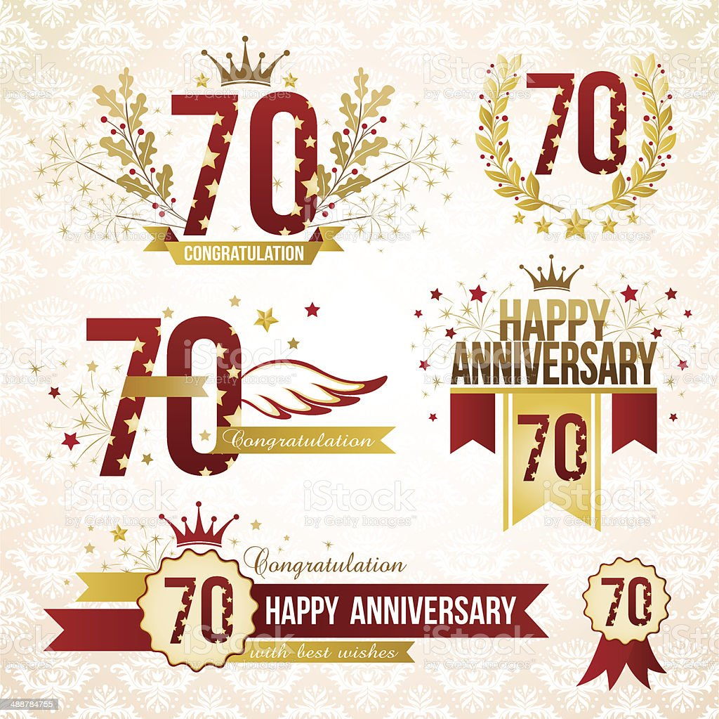 Set of 70th anniversary emblems. vector art illustration