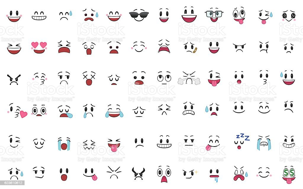 Set of 72 different pieces of emotions vector art illustration