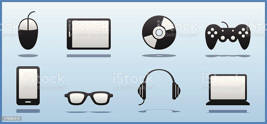 Set of 8 Black & White Computer Geek / Nerd / Gamer icons royalty-free stock vector art