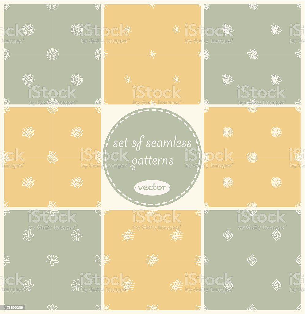 Set of 8 doodle seamless patterns. royalty-free stock vector art