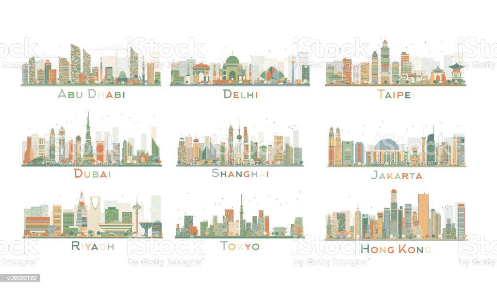 Set of 9 Abstract City Skyline. Vector Illustration. vector art illustration