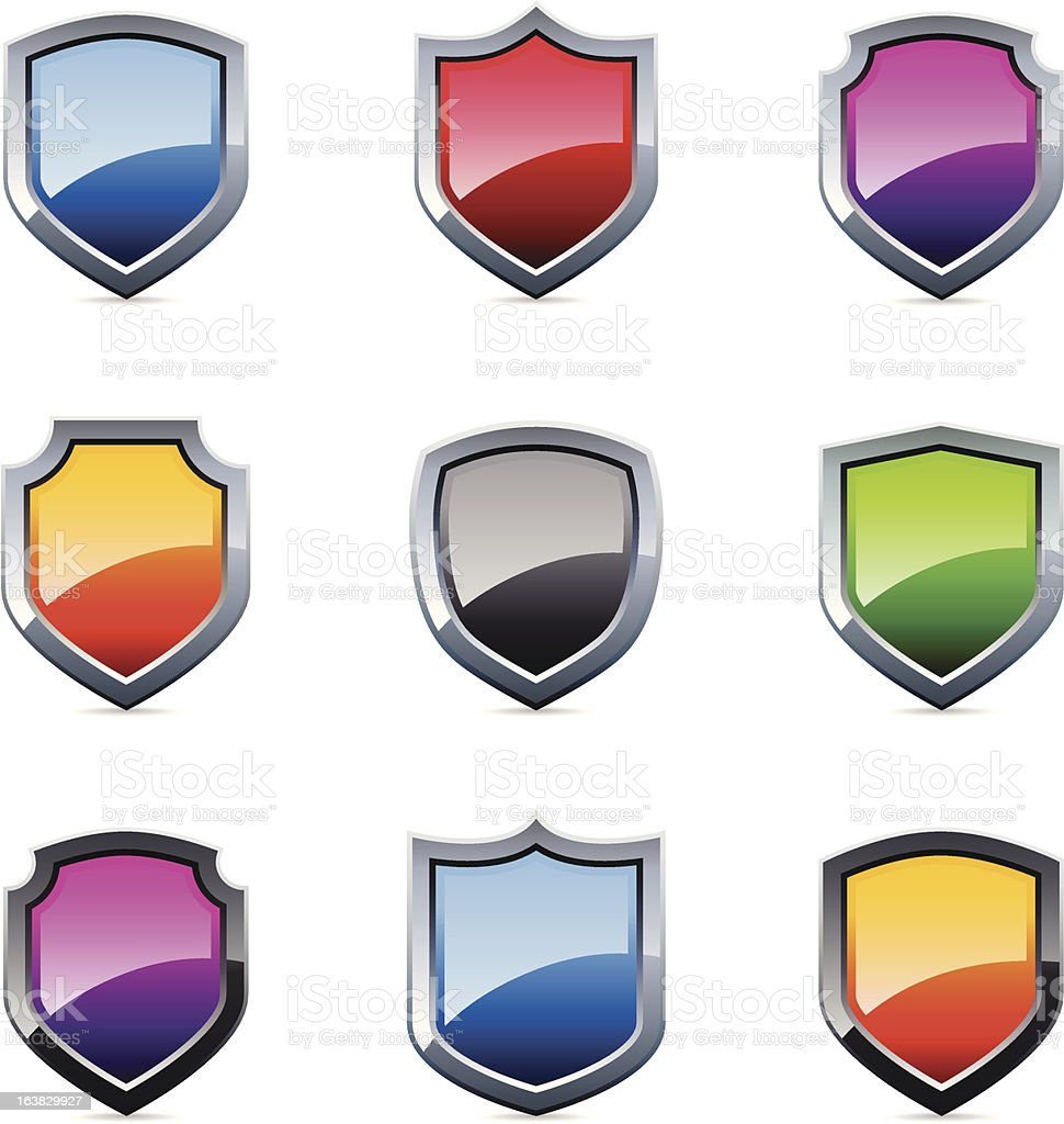 Set of 9 assorted color security shield icons on white royalty-free stock vector art