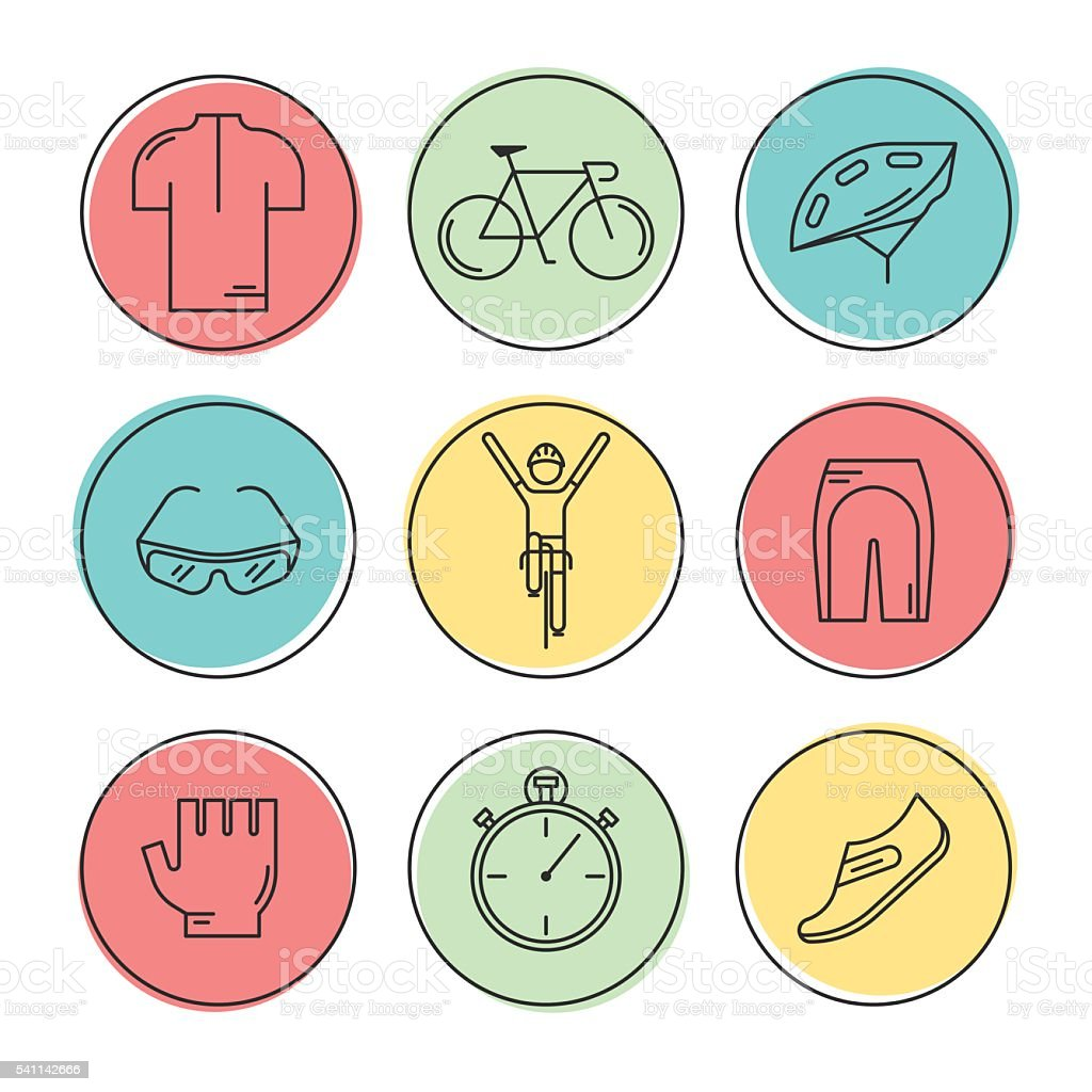 Set of 9 Bicycle Race modern linear icons vector art illustration