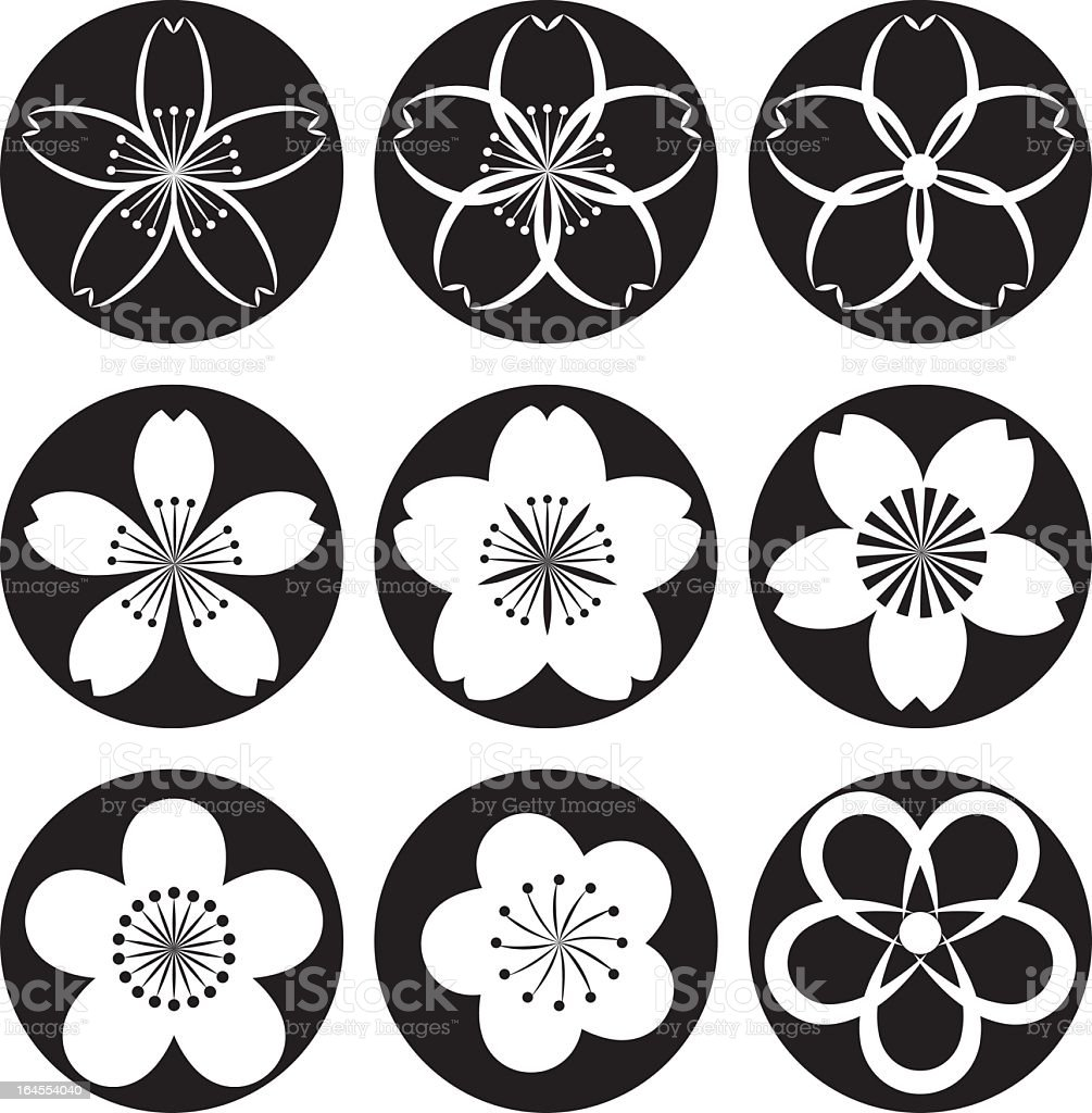 Set of 9 black and white blossom design icons royalty-free stock vector art