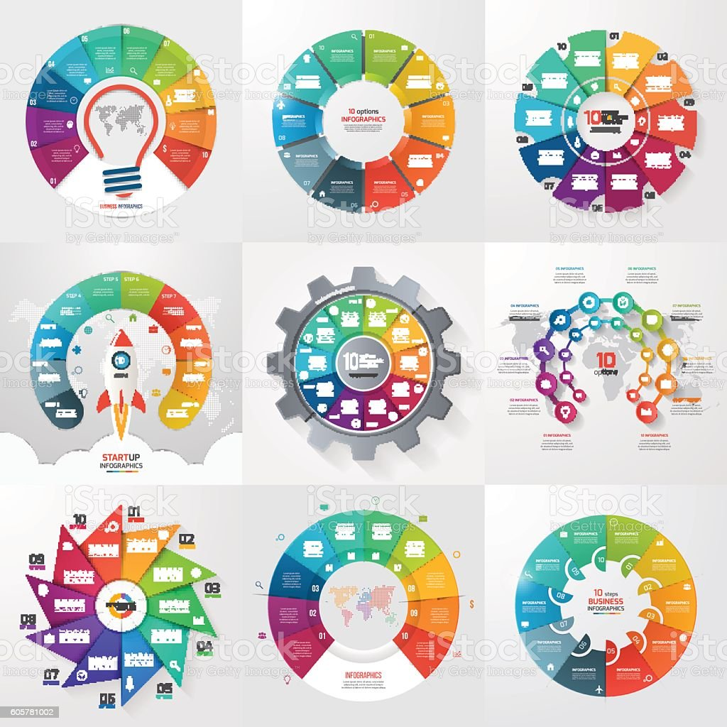 Set of 9 circle infographic templates with 10 options, steps vector art illustration
